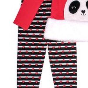 Nannette Matching Sets - Nannette Sherpa Panda Hoodie & Red Heart Leggings
